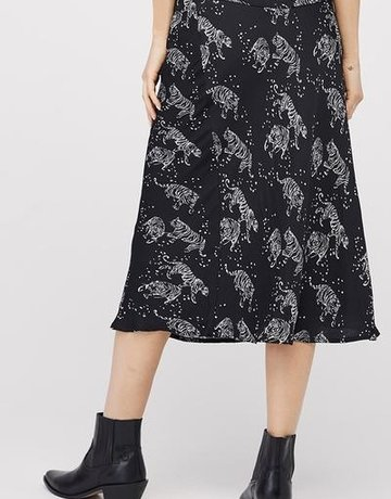 David Lerner Bias Midi Tiger Skirt Black