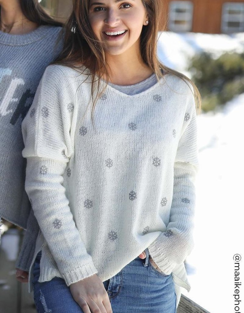 WOODEN SHIPS Mini SnowFlake Sweater Cream