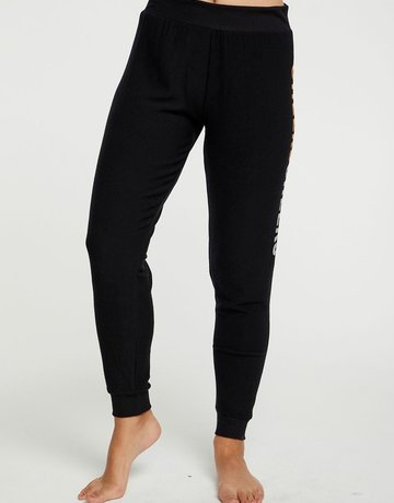 CHASER Cozy Knit Wide Band jogger Black