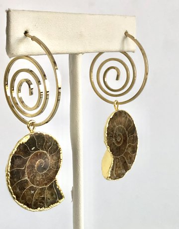 Twiga Fossil Spiral Earring Ammonite