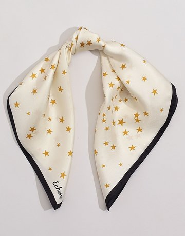 SHAKE YOUR BON BON Night Sky Silky Scarf Ecru