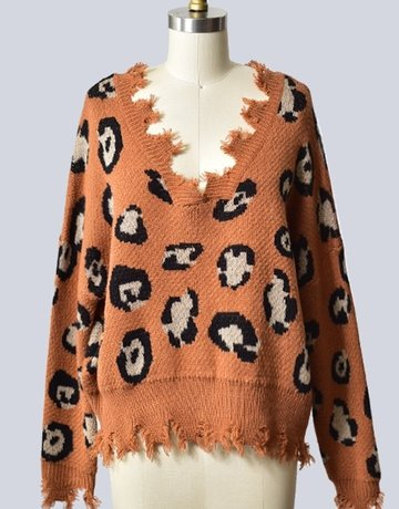 SHAKE YOUR BON BON Spotted Being Cozy Sweater Caramel