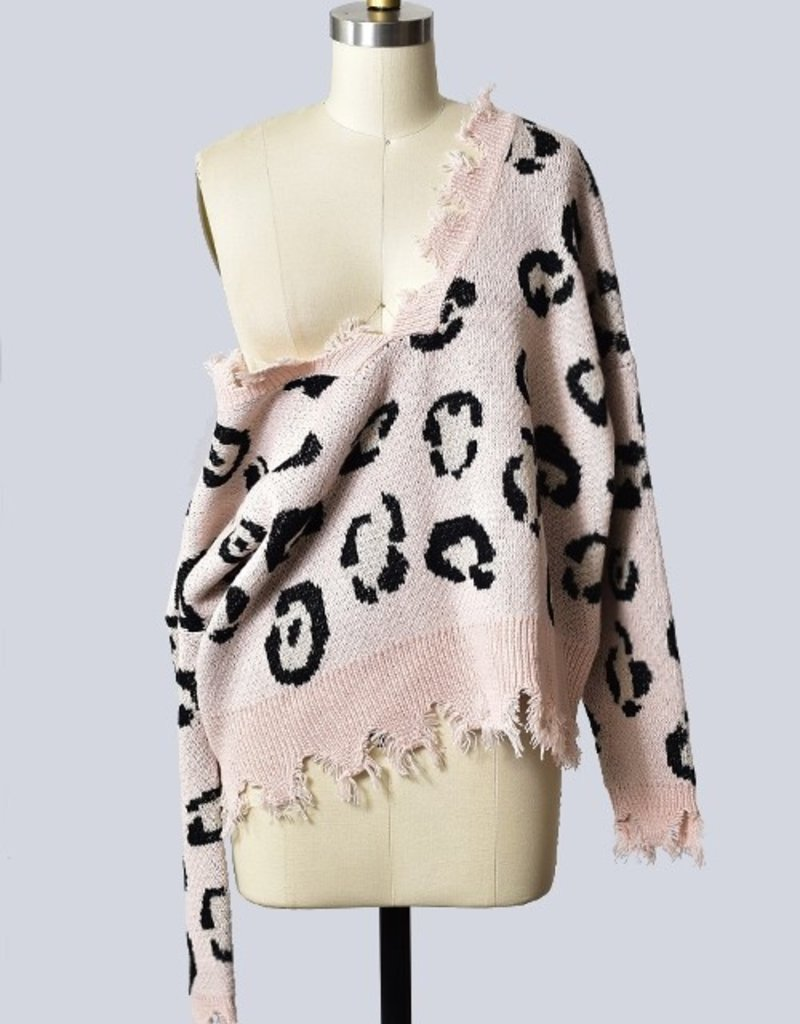 SHAKE YOUR BON BON Spotted Being Cozy Sweater Blush