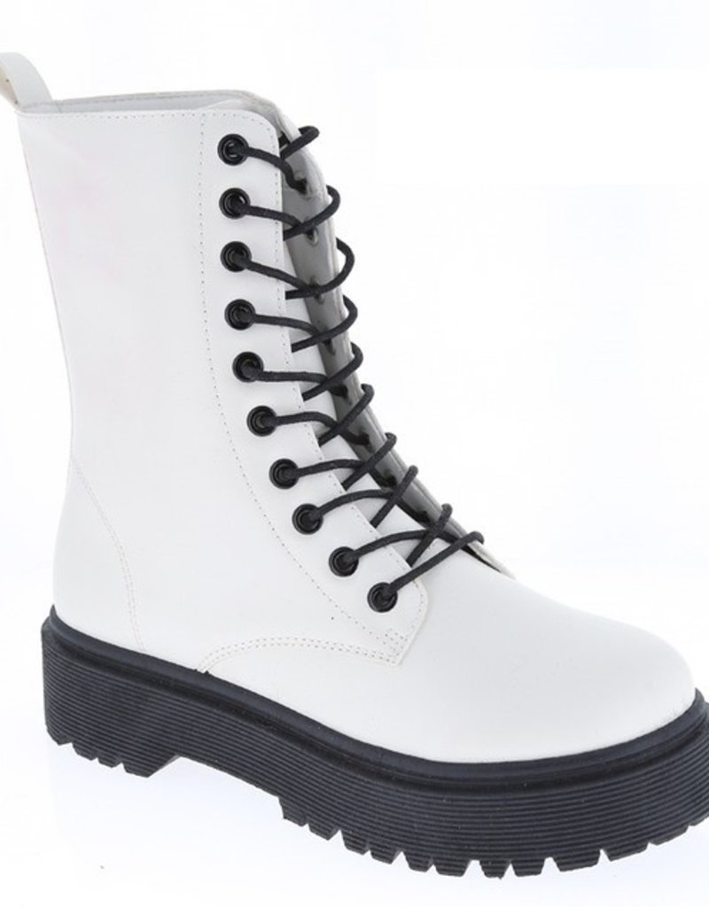 SHAKE YOUR BON BON Louisa Platform Combat Boot-White