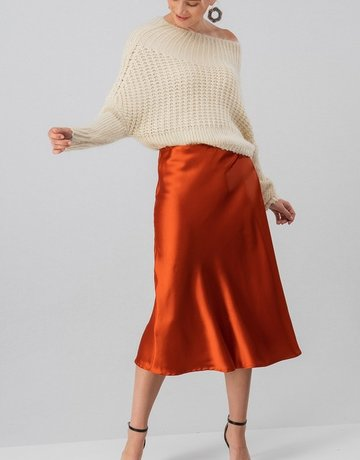 SHAKE YOUR BON BON Silky Satin Midi Skirt Rust