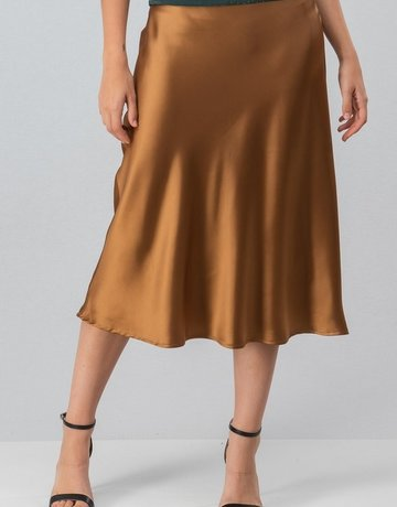 SHAKE YOUR BON BON Silky Satin Midi Skirt Gold