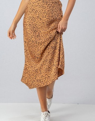 SHAKE YOUR BON BON Spotted Being Cute Midi Skirt Gold