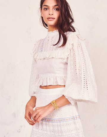 LOVESHACKFANCY Doreen Crop top White