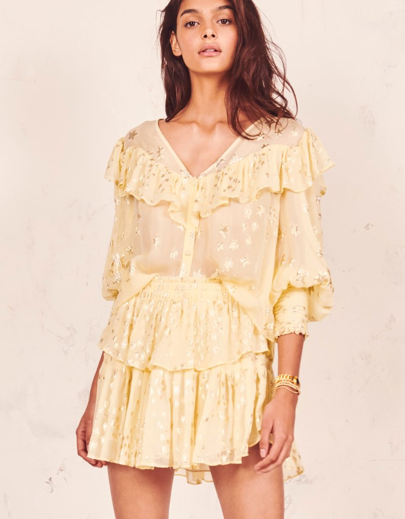 LOVESHACKFANCY Ruffle Mini Skirt Sunflower