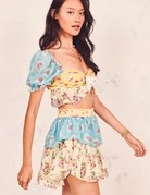 LOVESHACKFANCY Ruffle Mini Skirt Multi Floral