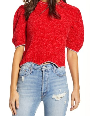 SHAKE YOUR BON BON Metallic Puff Tee Sweater Red