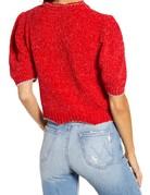 SHAKE YOUR BON BON Metallic Puff Tee Sweater Red