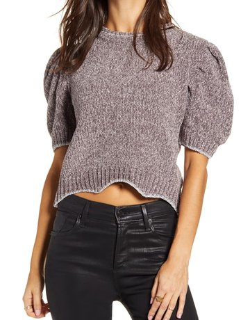 SHAKE YOUR BON BON Metallic Puff Tee Sweater Grey