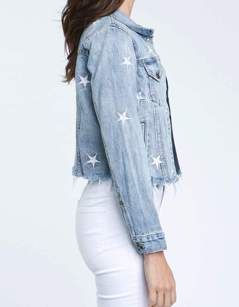 PISTOLA Naya Crop Star Embroidery Denim Jacket Supernova