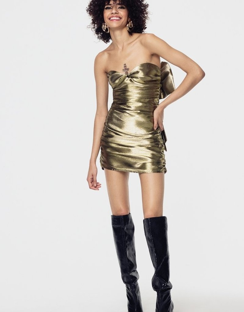 FOR LOVE AND LEMONS Juliette Brocade Mini Dress - Gold