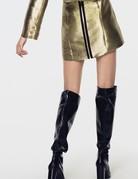 FOR LOVE AND LEMONS Juliette Brocade Mini Skirt - Gold