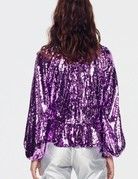 FOR LOVE AND LEMONS Madeleine Sequin top - Purple