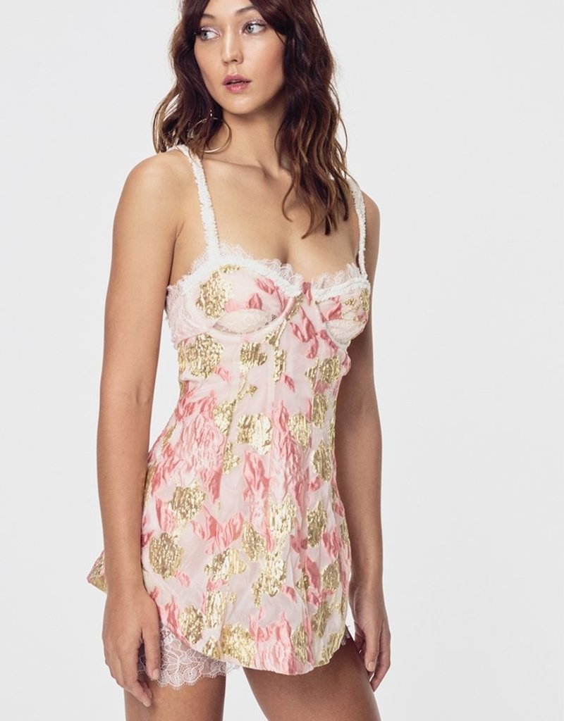 FOR LOVE AND LEMONS Madame Brocade Cut Out Dress - Rose