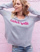 WOODEN SHIPS Celebrate VNeck Sweater Silver Pink