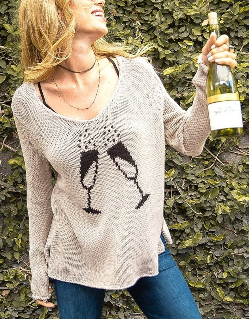 WOODEN SHIPS Champagne Toast Sweater Black