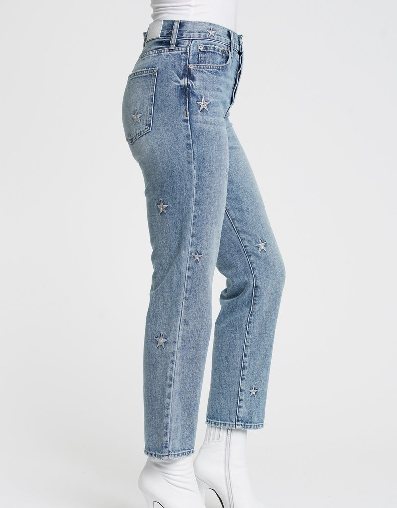 PISTOLA Charlie Star Embroidery High Rise Jeans