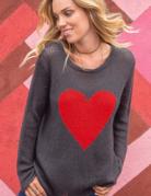 WOODEN SHIPS Chloe Heart V-neck Sweater