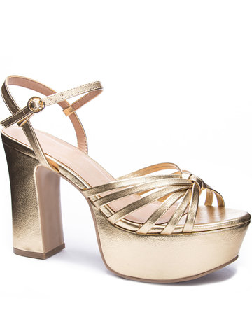CHINESE LAUNDRY Doll - Metallic Gold Platform Heel