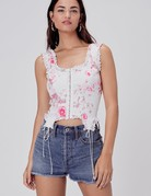 FOR LOVE AND LEMONS Sheridan Denim Bustier - Pink Floral