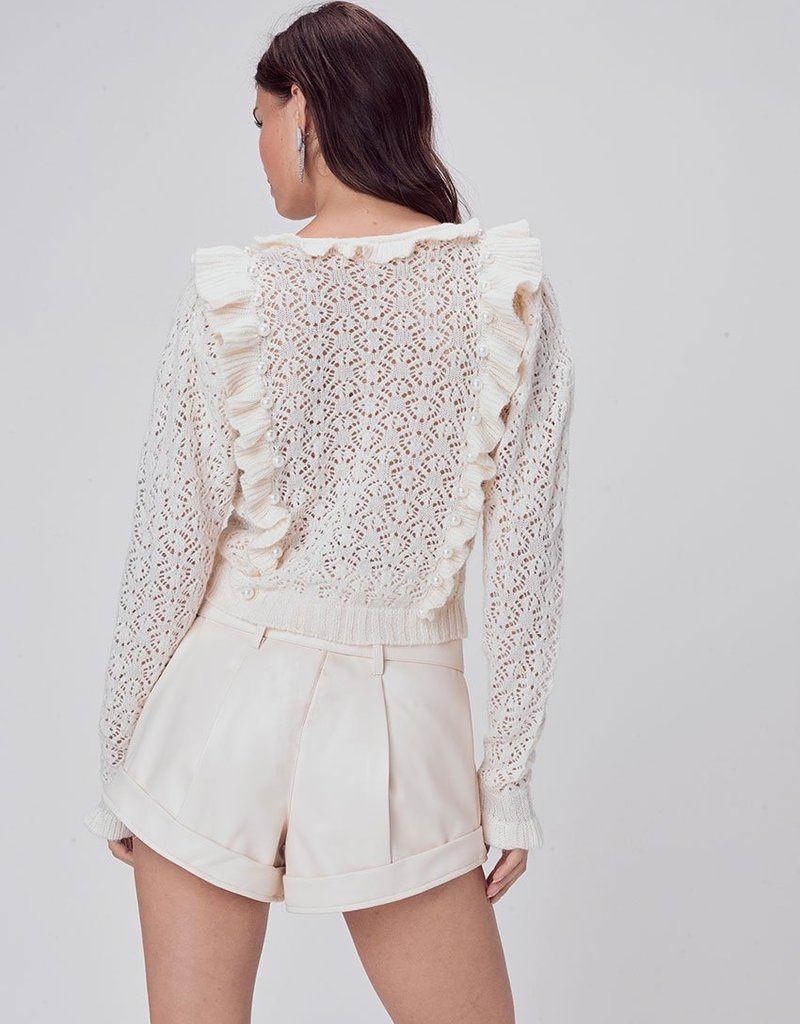 FOR LOVE AND LEMONS Pearl V Neck Cropped Sweater - Ivory