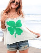 WOODEN SHIPS Lucky Clover Cotton Luffing - White/Seagreen