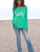 WOODEN SHIPS Lucky Raglan Cotton -  Seagreen/BreakerWht