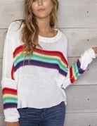 WOODEN SHIPS Rainbow Crew Cotton - White