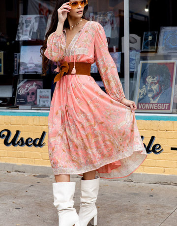 SPELL & THE GYPSY Hendrix Boho Dress - Long Sleve - Dusty Pink