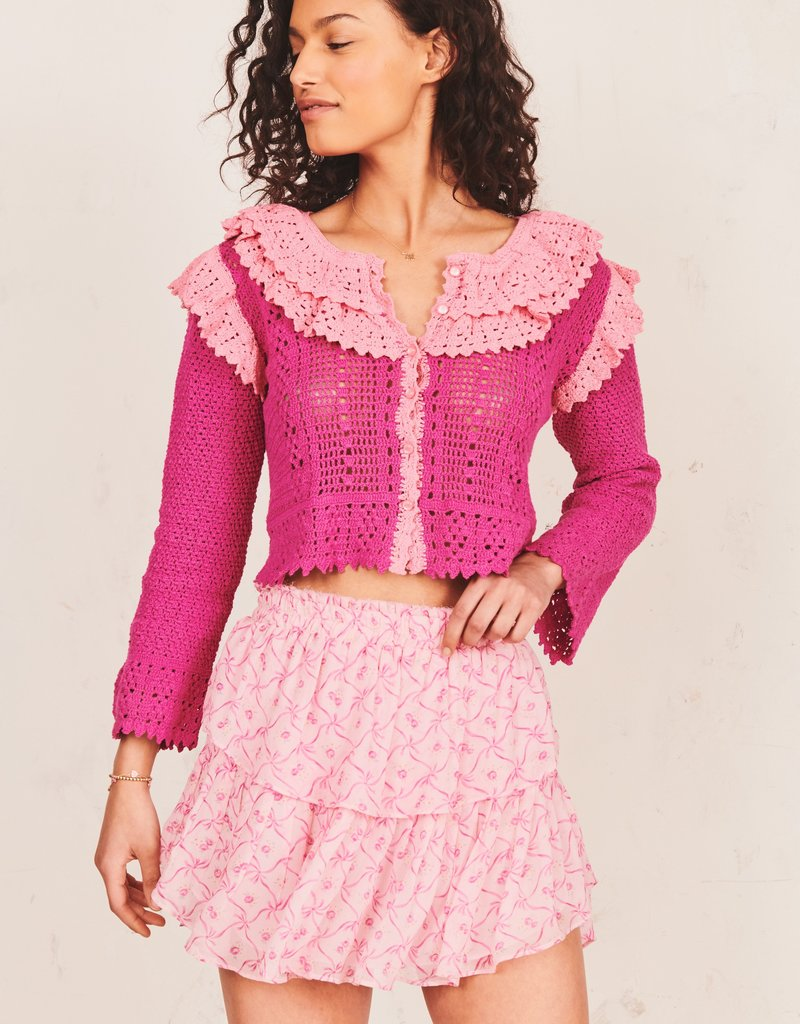 LOVESHACKFANCY Ruffle Mini Skirt Pink Bonnet