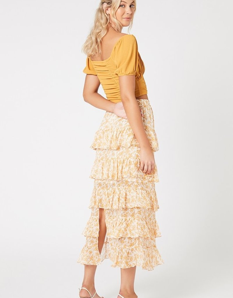 SHAKE YOUR BON BON Lana Tiered Midi Skirt - Gold / White