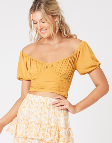 SHAKE YOUR BON BON Cass Ruched Top - Golden Spice