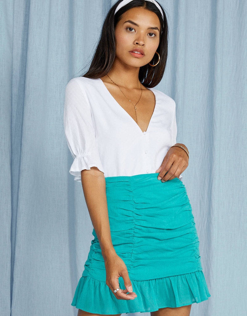 SAGE THE LABEL Loewy Rouched Mini Skirt - Seafoam
