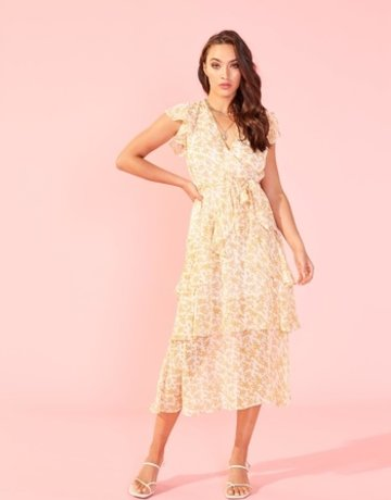 SHAKE YOUR BON BON Lana Midi Dress - Gold / White