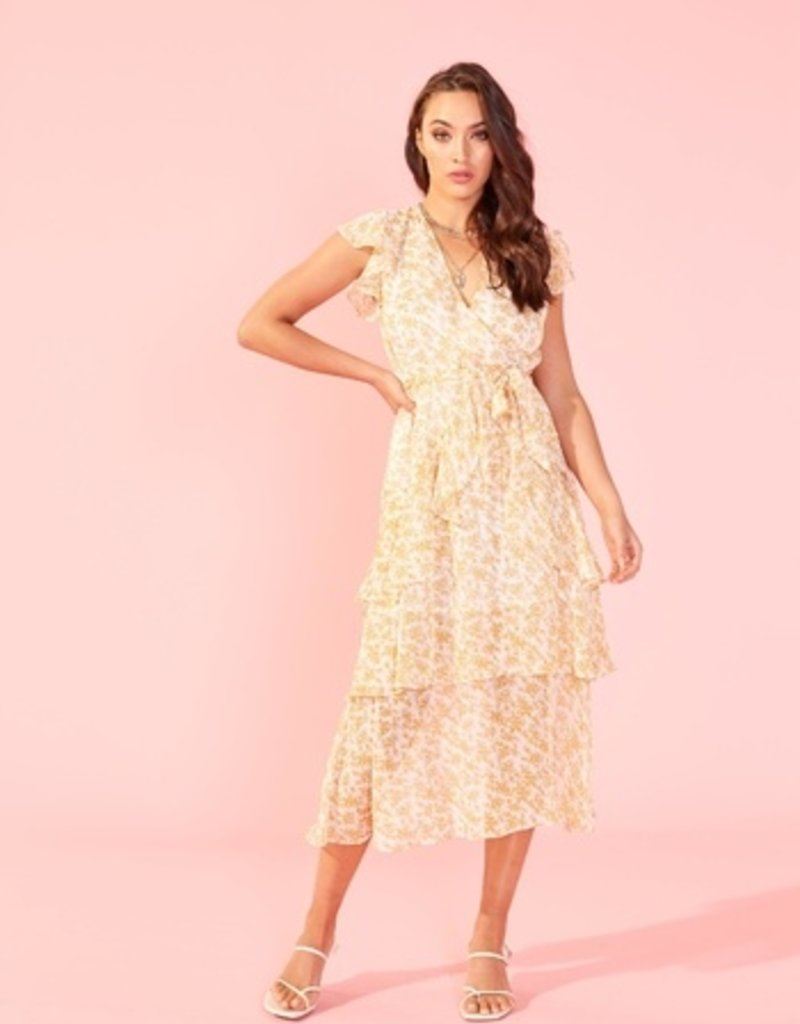 SHAKE YOUR BON BON Lana Midi Dress - Gold / White