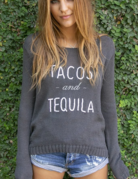 WOODEN SHIPS Tacos & Tequila Cotton Crew Neck Sweater