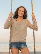 WOODEN SHIPS To The Beach Crew Neck Sweater - Pale Shale