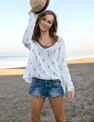 WOODEN SHIPS Mini Pineapples V Neck Sweater - Wht/Blk