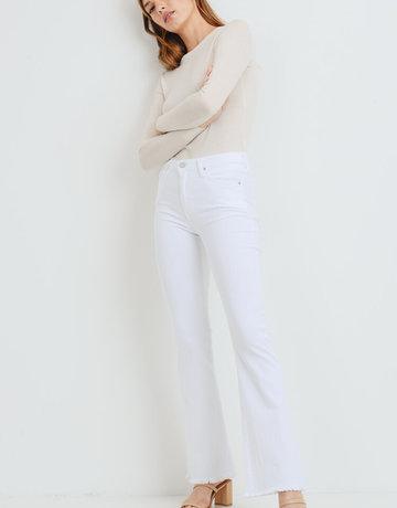 JUST BLACK DENIM Frayed Hem Flare Jeans - Optic White