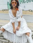 SPELL & THE GYPSY Daisy Chain Maxi Skirt - White