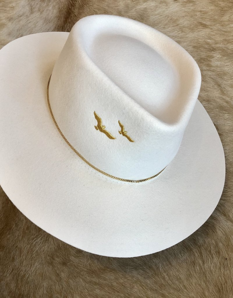 VAN PALMA Gaia Hat - Off White - Embroidered