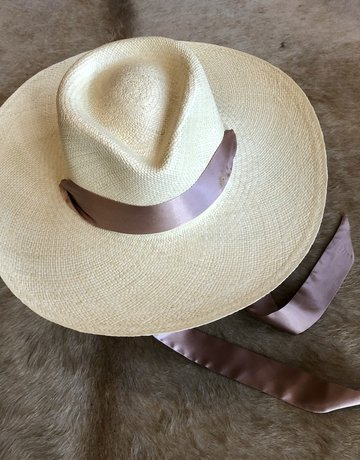 VAN PALMA Serena Hat with Pink Ribbon - Natural