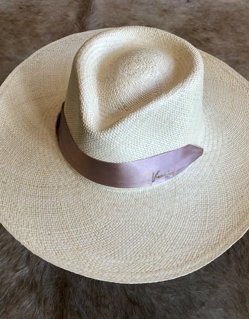 VAN PALMA Serena Hat with Pink Ribbon - Natural