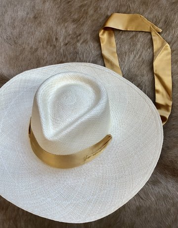 VAN PALMA Serena Hat with Yellow Ribbon - Natural