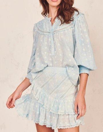 LOVESHACKFANCY Emma Skirt - Hand Dye Soft Blue