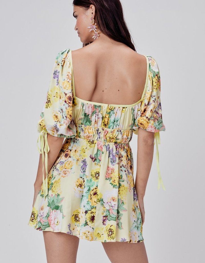 FOR LOVE AND LEMONS Leigh Floral Mini Dress - Butter Creme